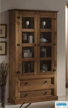 cristaleira;estante de livros;madeira maciça,guarda-louça Rustic Wood Furniture, Small Furniture, Furniture Styles, Diy Furniture, Crockery Cabinet, Muebles Living, Home Office Decor, Home Decor, Wooden Cabinets