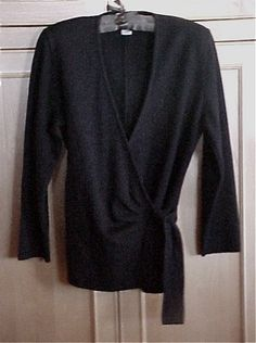 Paris Black Wool and Cashmere Glam Tie Front Sweater Made in France