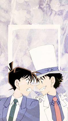 Kudo Shinichi and Kaito Kid Wallpaper ❤ Magic Kaito, Detective Theme, Detective Conan Shinichi, Detektif Conan, Kaito Kuroba, Detective Conan Wallpapers, Kaito Kid, Kudo Shinichi, Handsome Anime Guys