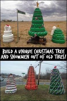 This Christmas Season Give Old Tires New Life by Turning Them Into Christmas Trees and Snowmen would be cute at the station Different Christmas Trees, Unique Christmas Trees, Xmas Tree, Christmas Holidays, Christmas Float Ideas, Christmas Projects, Christmas Crafts, Tire Craft, Outside Christmas Decorations