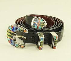 BG Mudd BGM Sterling Silver Inlay Bison Buckle on Sz50 Leather Belt Western RARE