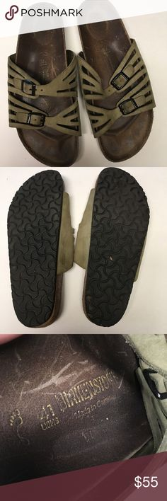 BIRKENSTOCK sage sandals High quality leather Birkenstock sandals in sage green! Great used condition! According to their online sizing chart 41= American women's sizing 10-10.5. Birkenstock Shoes Sandals