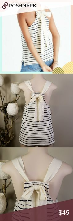 NWOT Striped Bow-Back Tank Top Brand new with tag  Color: bleached linen Made of textural striped jacquard, this just-add-jeans top ties at the neck in a generous bow inspired by a vintage find.  Swingy fit. Fiber content  100% Cotton  Care info Machine wash Madewell Tops Tank Tops