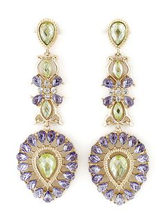 Purple Gemstone Gold Drop Earrings US$8.00