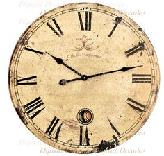 Old Clock   Time Shabby Rustic Distressed French by DigitaIDecades