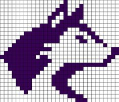 University Of Washington Huskies Perler Bead Pattern / Bead Sprite Plastic Canvas Crafts, Plastic Canvas Patterns, Beaded Bracelet Patterns, Beading Patterns, Knitting Charts, Knitting Patterns, Crochet Skull Patterns, Cowichan Sweater, Fair Isle Chart