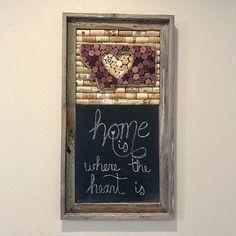 Wine cork art and chalkboard Barnwood frame Home state sign