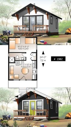 39 Ideas For Small House Ideas Architecture Tiny Homes Tiny Cabins, Tiny House Cabin, Tiny House Living, Tiny House Design, Small House Plans, House Floor Plans, Tiny Home Floor Plans, Tiny Cabin Plans, 1 Bedroom House Plans