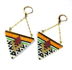 Boucles d'oreilles Géométriques chaîne laiton dorée à l'or fin et Miyuki Delicas