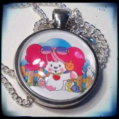 POOCHIE . Glass Pendant Necklace . 1980s . Kawaii by girlgamegeek, $11.11