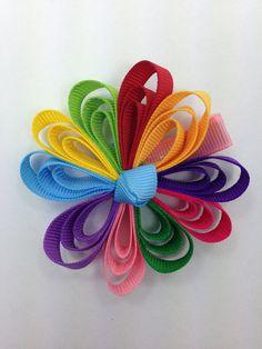 Daisy Girl Scouts Hair Clip Ribbon Sculpture