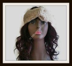 Large Headband , Crochet Turban , Head Wrap , Custom Turban , Twisted Headband , Woman Accessories  / Cream