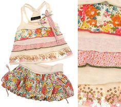 Hannah Banana *Modern Vintage* Cream w/Multi Color Print and Sequins Strappy Top w/Matching Bubble Skirt *Wow*