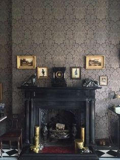 Astonishing Antique Fireplaces of Living Room for Classic House - Hupehome Fireplace Decor, Decor, House Interior, Slate Fireplace, Home, Goth Home Decor, Black Fireplace, Living Room With Fireplace, Home Decor