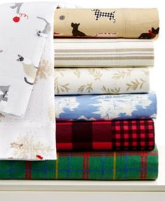 CLOSEOUT! Martha Stewart Collection Novelty Flannel Sheet Set, Only at Macy's