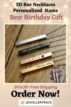 If you are interested in a very special gift just made for you, so you need to check out this fabulous Engraved Personalized 3D Bar Necklace ! It is everything you dream of for a very unique personalized birthday gift , best friends personalized gift, or a personalized gift of love ! We offer a hot deal of 26%Off+Free Shipping for limited time ! Order now ! Jewelry Rack, Fashion Jewelry Necklaces, Etsy Jewelry, Jewelry Shop, Jewelry Accessories, Fashion Accessories, Gifts For Kids, Gifts For Her, Thing 1