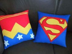 almohadas Sewing Crafts, Sewing Projects, Wonder Woman Birthday, Felt Pillow, Animal Pillows, Superhero Party, Sewing For Kids, Fabric Painting, Hobbies And Crafts