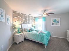 What little wouldn't love this bedroom? Highland Homes Reisling model home in Gibsonton, FL. Preteen Bedroom, Teenage Girl Bedrooms, Girls Bedroom, Teal Beach Bedroom, Teenage Beach Bedroom, Mermaid Bedroom Decor, Beach Themed Bedrooms, Teen Beach Room, Preteen Girls Rooms