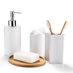 Avon Living Essential Bathroom Accessories Set | AVON $29.99 includes soap pump, cup, toothbrush holder and bamboo base: ceramic, wipe clean - Buy Avon Living online https://www.avon.com/category/avon-living?rep=barbieb Barb Barry, Avon Rep Online – Avon Living Home Decor