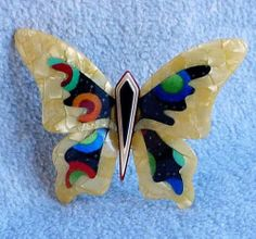 LEA Stein Large Butterfly Elfe PIN Brooch Signed Paris France Yellow Multicolor | eBay