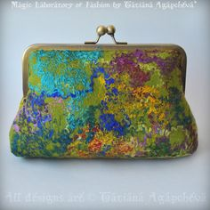 SALE Clutch Purse Bag Felted Merino, Silk Threads, Watecolor No1. $100.00, via Etsy.