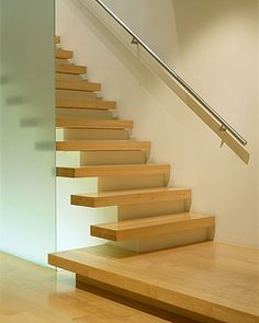 Floating Stairs Design Ideas, Pictures, Remodel, and Decor - page 3 Floating Staircase, Modern Staircase, Staircase Design, Stair Design, Indoor Stair Railing, Staircase Railings, Staircases, Banisters, Cantilever Stairs