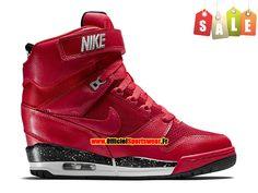 Nike Air Revolution Sky Hi GS - Chaussure Montante Nike Pas Cher Pour Femme Rouge action/Noir/Gris loup 599410-600
