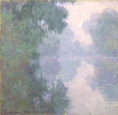 "The Seine at Giverny, Morning Mists ~ artist Claude Monet, c.1897. Oil on canvas, 35"" x 36"". North Carolina Museum of Art, Raleigh, NC. A series of 18 paintings Monet produced of Morning on the Seine in 1896-97, working from the same location in a small boat. Studying varying conditions of light, time, & atmosphere, he carried multiple canvases, shifting from one to the next as light conditions changed with the sunrise. #art #landscape"