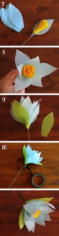 DIY Crepe Paper Flower - 1 .....   .... More at http://ideas.evite.com/2013/04/diy/