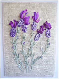 Ribbon & thread embroidery combined, lavender