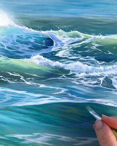 Painting waves and the ocean - See more at Landscape Art, Landscape Paintings, Art Plage, Watercolor Ocean, Ocean Wave Painting, Ocean Drawing, Underwater Painting, Water Drawing, Watercolour