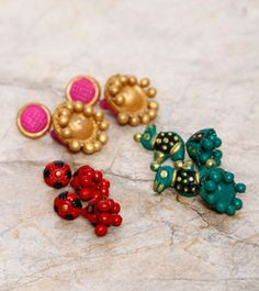 HandsOn by Buzzaria Red, Green & Pink Terracotta Earrings - Set Of Three
