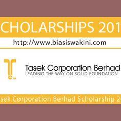 Tasek Corporation Berhad Scholarship 2017  Tasek Corporation Berhad Scholarship 2017TASEK CORPORATION BERHAD a public company listed on Bursa Malaysia offering scholarships to deserving Malaysian students who are pursuing full time Degree courses at universities in Malaysia 1 FIELDS... Readmore: http://babab.net/feed/ http://ift.tt/2tb0ibJ http://ift.tt/2tweGxg http://ift.tt/2tp9hsx