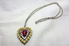 Avon necklace heart shaped faux pearl by TreasureTrovebyTish, $10.00
