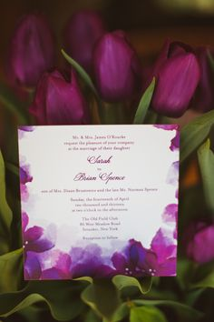 Purple wedding invitation by Wedding Paper Divas. Purple tulips. Photography by Laura Ryan.