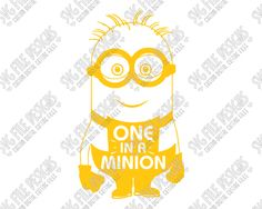 One In A Minion Word Art SVG Cut File Set for Minions Shirt and Onesies in SVG, EPS, DXF, JPEG, & PNG for use with Cricut, Silhouette, & Brother ScanNCut