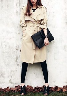 Khaki Side-Button Trench Coat