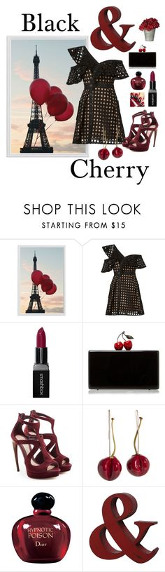 """""""Black & Cherry"""" by ritaosantos ❤ liked on Polyvore featuring Pottery Barn, self-portrait, Smashbox, Edie Parker, Alexander McQueen, Christian Dior, black, red, Clutch and blackandred"""