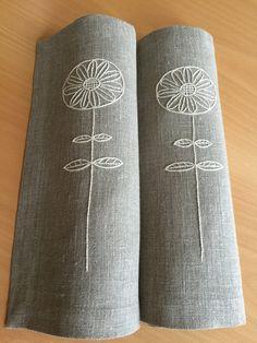Manteles lino bordado mano Natural conjunto 2 por Rokasdarbi