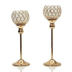 VINCIGANT Christmas Decoration Gold Crystal Candle Holder Set of 2 for Dinning Table Centerpieces ** Click on the image for additional details.