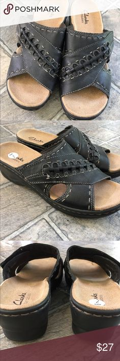 """Black Clarks Sandals Open toe black leather Clarks sandals. Non-slip soles; 2"""" heels. Velcro open & close for comfortable fit. Design on leather with tan accent stitching. Great condition. (9) Clarks Shoes Sandals"""