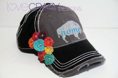 Baseball Hat with Leather Flowers by LoveCrazyDesigns on Etsy