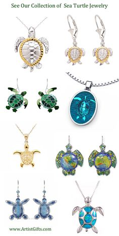 Beautiful Sea Turtle jewelry in a variety of styles! Sea Turtle earrings, necklace and pins in silver, gold, enamel, gemstone and stainless steel make fun sea turtle gifts for sea turtle lovers!
