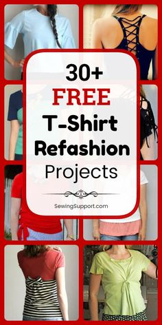 T-Shirt Refashion Projects designs) Diy Clothes Refashion for t-shirts. 30 free t-shirt refashion diy projects and sewing tutorials. Browse this collection of creative ideas for upcycling, repurposing, and transforming tee shirts into tops you'll love. Upcycle T Shirts, T-shirt Refashion, Diy Clothes Refashion, Refashioning Clothes, Umgestaltete Shirts, Basic Shirts, Rockabilly Plus Size, Trend Fashion, Diy Fashion