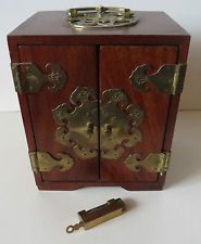 Antique china jewerly dresser | Chinese Asian Rosewood Jewelry Chest Box Applied Etched Brass Felt ...