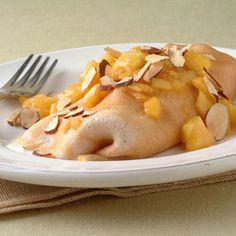 Cinnamon Crepes with Peaches and Cream Cheese Recipe