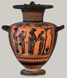Terracotta hydria (water jar)  Attributed to the Class of Hamburg 1917.477 Period: Archaic Date: ca. 510–500 B.C. Culture: Greek, Attic Medium: Terracotta; black-figure Dimensions: H. 14 3/4 in. (37.5 cm)