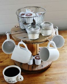Coffee Station DIY from a Repurposed Cable Spool Wooden Cable Spools, Wire Spool, Coffee Bar Home, Home Coffee Stations, Coffee Shop, Coffee Mug Holder, Coffee Cups, Coffee Maker, Coffee Server