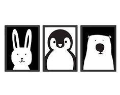 Nursery Animals Illustration art | PRINTABLE art, animal print, nursery print, nursery decor, rabbit, bunny, polar bear, penguin, monochrome