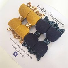 Perfect for clipping little fringes, or as cute piggy set. Mustard/Gold Navy Violets Bowtique hair accessories make excellent gifts for newborns, baby showers, and birthdays. Theyre also the perfect hair accessory for weddings, holidays and baptisms.  All of our products are 100%